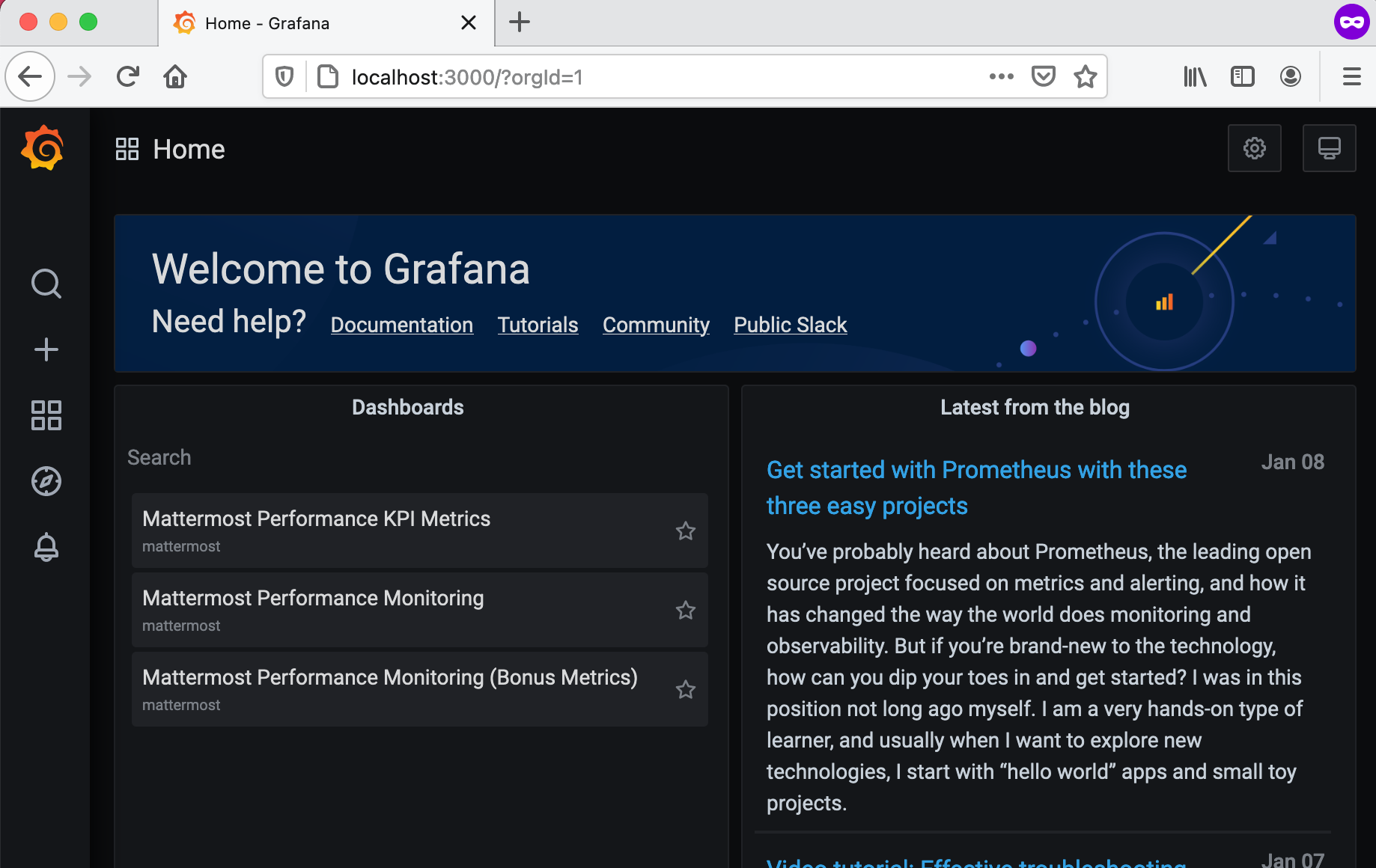 Grafana home dashboard