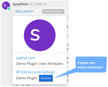popover user actions component